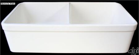 "Alfi AB512-X 32"" Double Bowl Lip Apron Farmhouse Kitchen Sink with 1 3/4"" Lip, Fireclay and 3 1/2"" Rear Center Drain in"