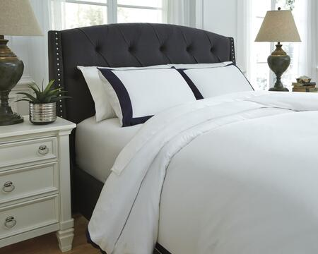 Signature Design by Ashley Ransik Pike Q7330 3 PC King Size Duvet Cover Set includes 1 Duvet Cover and 2 Standard Shams with Solid Flange Design, 300 Thread Count and Cotton Material in Color