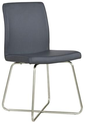 "Coaster 36"" Side Chair with Leatherette Upholstery and Butterfly Metal Base in Stainless Steel Finish"