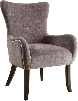 """Coaster Accent Seating Collection 28"""" Accent Chair with Contemporary Curves, Espresso Tapered Legs, Nail Head Trim, Camel Back Design, Flared Arms and Chenille Upholstery in"""