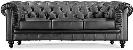 "Zuo 90011 Aristocrat Collection 25"" Sofa with Button Tufting, Tufted Detailing, Rolled Arms, and Leather Upholstery"