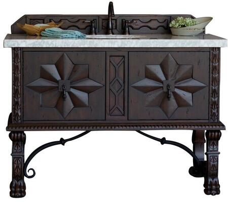 "James Martin Balmoral Collection 150-V48-ANW- 48"" Antique Walnut Single Vanity with Hand Carved Details, Iron Scrollwork, Two Soft Closing Doors and"