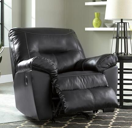 "Milo Italia MI-6841ATMP Maggie 40"" Rocker Recliner with Jumbo Stitching, Metal Frame and DuraBlend Upholstery in"