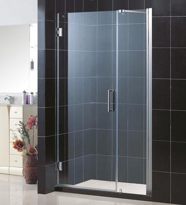 DreamLine SHDR-20437210 Unidoor Frameless Hinged Shower Door With Reversible For Right or Left Door Opening, Self-Closing Solid Brass Wall Mounted Hinges (5 Degree Offset) & In