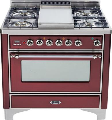 "Ilve UM90FVGGRBX 36"" Majestic Series Gas Freestanding Range with Sealed Burner Cooktop, 3.55 cu. ft. Primary Oven Capacity, Warming in Burgundy Red"