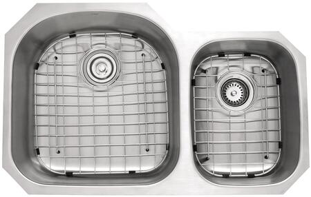 """Kraus KBU23KPF1622KSD30 Premier Series 33"""" Undermount 60/40 Double-Bowl Kitchen Sink with Stainless Steel Construction, NoiseDefend, and Included Pull-Down Kitchen Faucet"""
