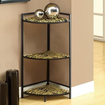 "Monarch I 312X 30"" Accent Shelf, with 3 Tempered Glass Shelves, Metal Frame, and Ferocious Design, in Tiger/Black"