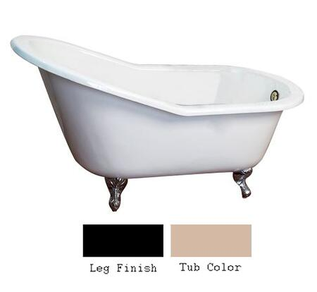 "Barclay CTSN62 62"" Hastings Cast Iron Slipper Tub with Overflow and No Holes in"