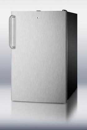 "Summit CM421BLSSTB 20"" Compact Refrigerator with 4.1 cu. ft. Capacity in Stainless Steel"