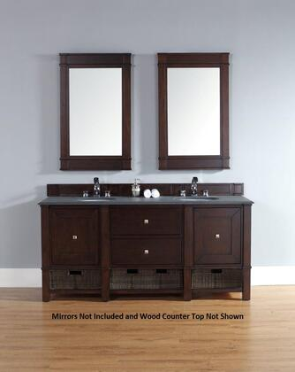 "James Martin Madison 72"" Double Vanity with 2 Doors, 2 Shelves, 2 Drawers, Wood Top, Satin Nickel Hardware, White Poplar and Plywood Materials in"