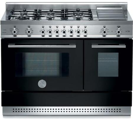 """Bertazzoni Professional Series X48 6G PIR 48"""" Freestanding Dual Fuel Range with 6 Sealed Burners, European Convection, Pyrolytic Self-Clean, Electric Griddle Temperature Probe and Indicator Lights"""