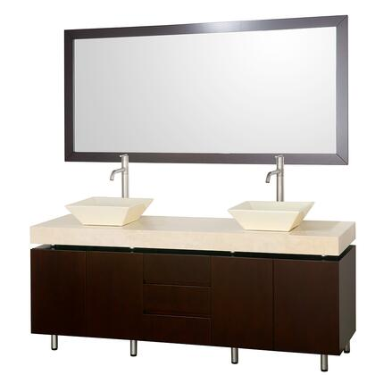 "Wyndham Collection WCS300072ES Malibu 72"" Modern Double Vanity, with 70"" Mirror, Water Resistant Espresso Finish, Three Drawers, Four Doors, Top, and Dual Sinks"