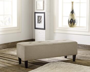 "Signature Design by Ashley 281008 Sinko 47"" Oversized Accent Ottoman with Wooden Removable Legs, Tested Fabrics and Fiber Wrapped Cushion Core, in"