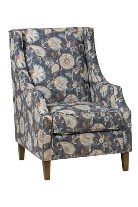 "Jofran Westbrook Collection WESTBROOK-CH-X 41"" Accent Chair with Antique Pattern Fabric, Silver Nail-Head Trim and Heirloom Finish Legs in"