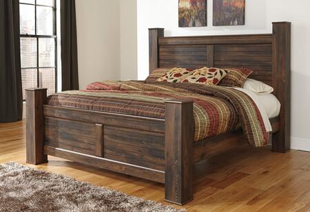 Signature Design by Ashley B246PSTBD Quinden Size Poster Bed with Horizontal Slat Details, Framed Panels and Replicated Oak Grain in Dark Brown Finish