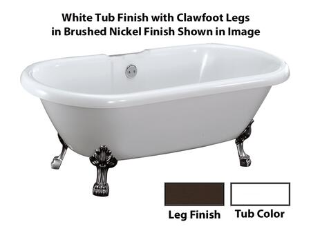 White Tub Finish with Clawfoot Legs in Brushed Nickel Finish Shown
