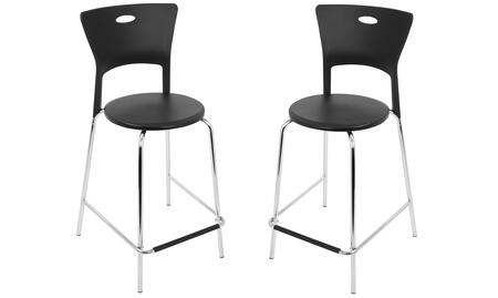 "LumiSource Mimi CS-CF-MIMI Set of (2) 38"" Counter Stool with High-Rise Backrest, Chrome Frame and Footrest in"
