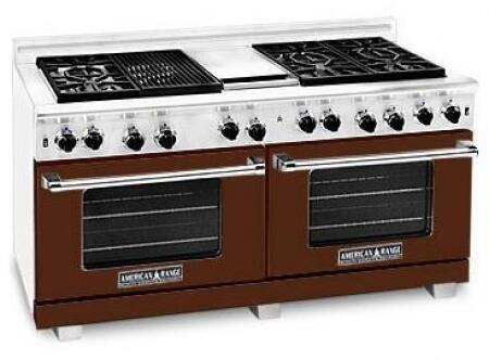 American Range ARR606GDGRLHB Heritage Classic Series Liquid Propane Freestanding Range with Sealed Burner Cooktop, 4.8 cu. ft. Primary Oven Capacity, in Brown