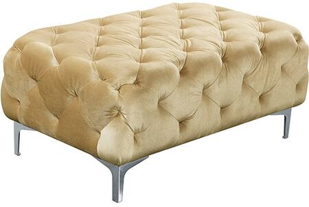 "Meridian Mercer 646-OTT 71"" Ottoman with Top Quality Velvet Upholstery, Tufting Detailing and Tuxedo Arms in"