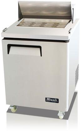 """Migali CSPXXBT X"""" Competitor Series Commercial Sandwich Preparation Table with X cu. ft. Capacity, Big Top Table, Forced Air Refrigeration, Electro-Mechanical Thermostat and Casters, in Stainless Steel"""