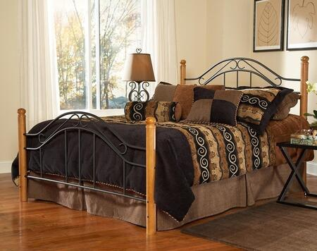 Hillsdale Furniture 164BR Winsloh Poster Bed Set with Rounded Finials, Rails Included, Medium Oak Hardwood Posts and Tubular Steel in Black