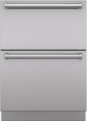 "Sub-Zero 7025 Set of 2 Drawer Panels with Handle and Toe Kick for 24"" Refrigerator Drawers, in Stainless Steel"