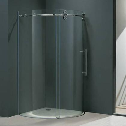 "Vigo VG6031XXCL36R 36"" x 36"" Frameless Round 5/16"" Shower Enclosure Right Sided Door:"