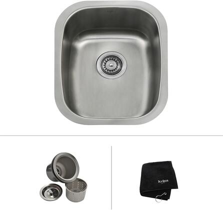 Kraus KBU1X Premier Series Undermount Single-Bowl Kitchen Sink with Stainless Steel Construction, NoiseDefend, and Included Strainer
