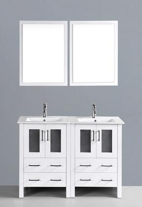 "Bosconi AW224UXX 48"" Double Vanity in White with X Drawers, 2 Doors, Ceramic Tops, 2 Sinks and 2 Mirrors"