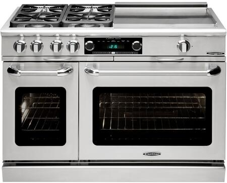 """Capital Precision Series CSB484GG-X 48"""" Freestanding Dual Fuel Electric Range with 4 Sealed Burners, Primary 4.6 Cu. Ft. Oven Cavity, Secondary 2.1 Cu. Ft. Oven Cavity, and Moto-Rotis, in Stainless Steel"""