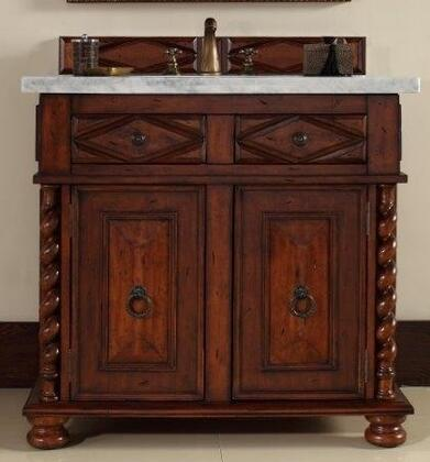 "James Martin Continental 36"" Single Vanity with 2 Doors, 2 Drawers, 1 Sink Included, Antique Brass Hardware, Marble Top, Cherry and Birch Materials in Burnished Cherry Finish"