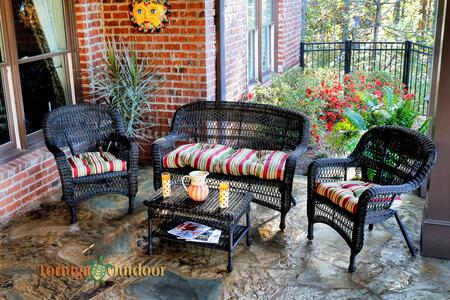 Tortuga Portside PS4S-DK 4-Piece Seating Patio Set with Loveseat, 2 Armchairs and Table in Dark Roast with X Cushions