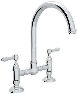 "Rohl A1461LM-2 Italian Country Kitchen Collection Deck Mounted C-Spout Bridge Kitchen Faucet with 8"" Reach and Metal Levers in"