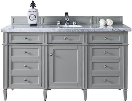 "James Martin Brittany Collection 650-V60S-UGR- 60"" Urban Gray Single Vanity with Seven Drawers, One Door, Tapered Legs, Satin Nickel Hardware and"