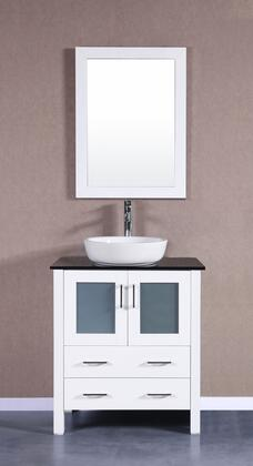 Bosconi Bosconi AW130BWLBGX Single Vanity with Soft Closing Doors , Drawers,Tempered Glass Top, Faucet, Mirror in Espresso and White Vessel Ceramic Sink