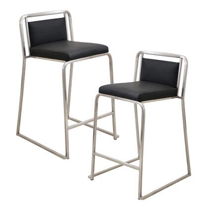 """LumiSource Cascade CS-CASC Set of (2) 31"""" Stackable Counter Stool with Leatherette Upholstery, Stainless Steel Base and Footrest in"""