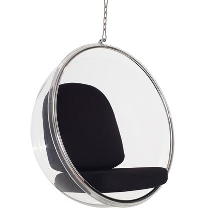 Modway Indoor Ring Lounge Chair with 6 ft. Ceiling Chain Included, Clear Acrylic Steel Rim and Vinyl Cushion in