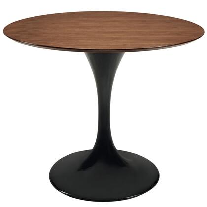 """Modway EEI-524 Lippa 36"""" Dining Table with Modern Design, Solid Walnut Top, Fiberglass Base, Scratch and Chip Resistant Finish"""