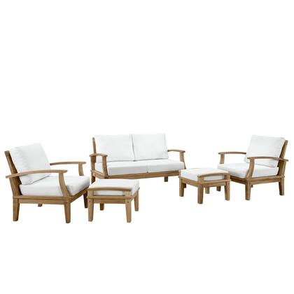 Modway Marina Collection 5 PC Outdoor Patio Sofa Set with Washable Fabric Covers, UV Resistant Cushions and Solid Teak Wood Construction in Natural Color