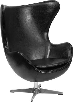 Flash Furniture ZB-XX-GG Retro Style Egg Chair with Tilt-Lock Mechanism, Swivel Seat and Integrated Curved Arms