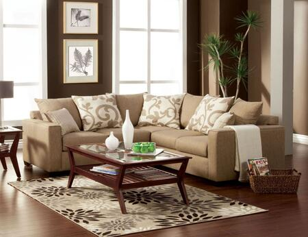 "Furniture of America Cranbrook Collection SM301X-PK 90"" Sectional with Fabric Upholstery, Track Arms and Accent Pillows in"