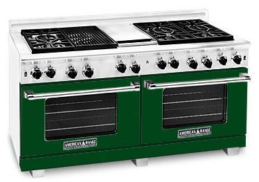 "American Range ARR6062GRFG 60"" Heritage Classic Series Gas Freestanding Range with Sealed Burner Cooktop, 4.8 cu. ft. Primary Oven Capacity, in Green"