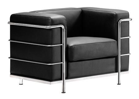 "Zuo 90022 Fortress Collection 26"" Arm Chair with Chromed Steel Tube Frame, and Leather and Leatherette Upholstery"