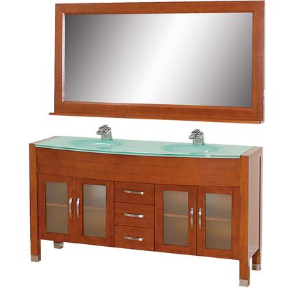 "Wyndham Collection WCV220063 Daytona 63"" Double Vanity with Mirror, Four Soft Close Doors, Top and Dual Sinks"