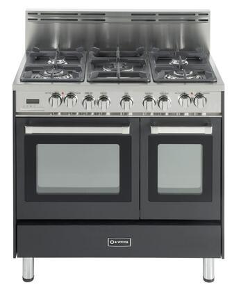 "Verona VEFSGE365DE 36"" Dual Fuel Freestanding Range with Sealed Burner Cooktop, 2.4 cu. ft. Primary Oven Capacity, Storage in Black"