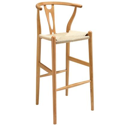 Modway EEI-1079 Amish Wood Bar Stool with Modern Design, Durable Paper Rope Seat, Solid Beech Wood Frame and Sturdy Construction