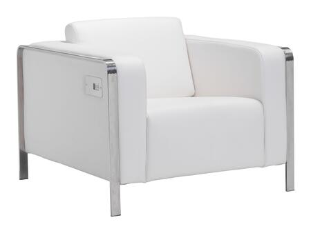 "Zuo 10038X Thor Collection 28"" Chair with Chrome Frame, USB Ports, and Leatherette Upholstery"