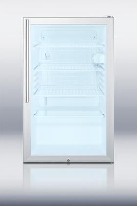 "Summit SCR450L7HX 20"" Commercially Approved & ADA Compliant Compact Refrigerator with 4.1 cu. ft. Capacity, Interior Light, Glass Door and Professional Handle, in White"