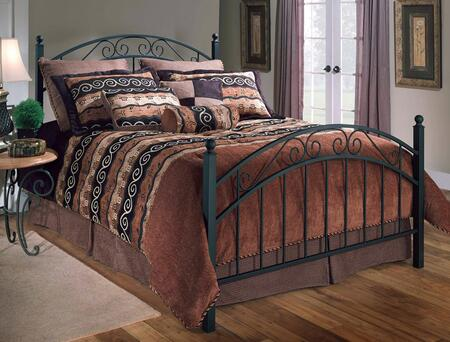 Hillsdale Furniture 114B Willow Poster Bed Set with Rails Not Included, Straight Spindles, Scrollwork and Metal Construction in Textured Black Finish