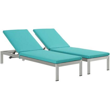 """Modway Shore Collection EEI-2737-SLV- Set of (2) 76"""" Outdoor Patio Aluminum Chaises with Adjustable Height, Breathable Textilene Mesh, Woven PVC Coated Polyester and Anodized Aluminum Frame in Silver and"""